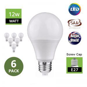 E27 Screw Head Globe 12W LED Ivory Bulb 240V Milky - 6 Pack