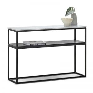 Ebonie White Marble 120cm Console Table | Black