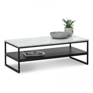 Ebonie White Marble Rectangular Coffee Table | Black