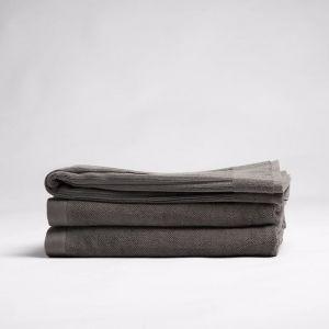 ecoLinen Organic Cotton Bath Mat | White or dark Donkey Brown/Charcoal colour