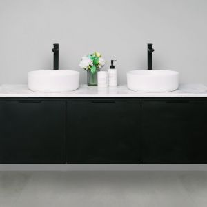 Edge 20mm Solid Surface Top 1500 Double Bowl Wall Mount Vanity