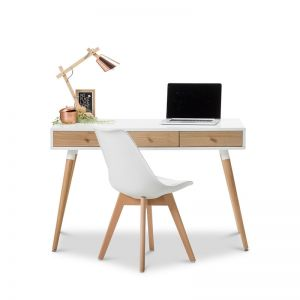 Einar 3 Drawer Office Writing Desk | White & Oak