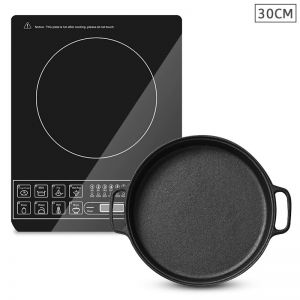 Electric Smart Induction Cooktop | 30cm Cast Iron Frying Pan