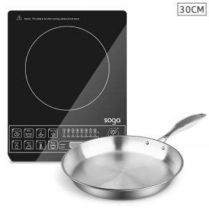 Electric Smart Induction Cooktop and 30cm Stainless Steel Fry Pan Cooking Frying Pan