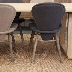 Elegant Dining Chair in Weathered Oak and Grey Linen by SATARA