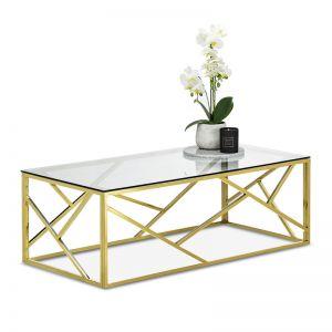 Elena Geo Coffee Table | Polished Gold