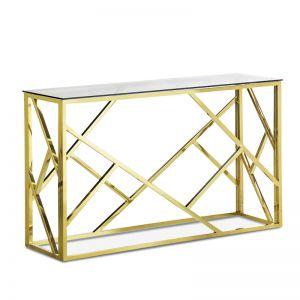 Elena Geo Console Table | Polished Gold