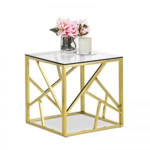 Elena Geo Cube Side Table | Polished Gold