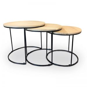 Eligio Nest of 3 Tables  | Oak + Black Metal