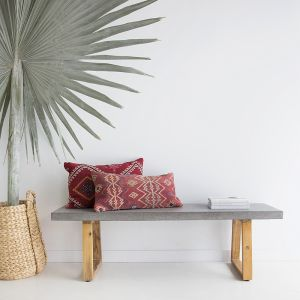 ElkStone Bench Seat | 1.45. Sand Colour seat with Black powder coated legs