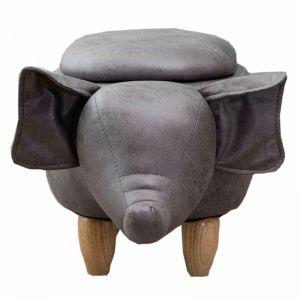 Elle Ash Grey Elephant Ottoman with Storage
