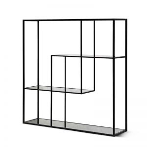 Elle Grey Glass Small Shelving Unit - Black Frame