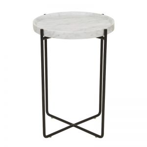 Elle Lip Side Table | Matte Black / White