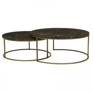 Elle Round Nest Marble Coffee Table Set \ Brown / Brushed Gold