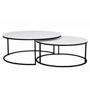 Elle Round Nest Marble Coffee Table Set | Matte White / Black