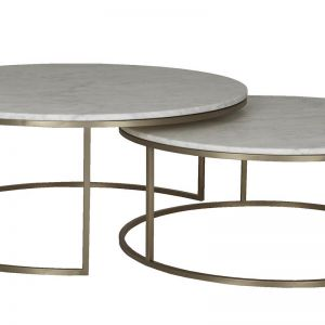 Elle Round Nest Marble Coffee Table Set | Matte White / Brushed Gold
