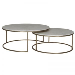 Elle Round Nest Marble Coffee Table Set | Matte White / Brushed Gold | Pre Order