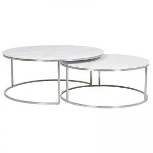 Elle Round Nest Marble Coffee Table Set | Matte White / Stainless Steel
