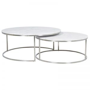 Elle Round Nest Marble Coffee Table Set | Matte White / Stainless Steel | Pre Order