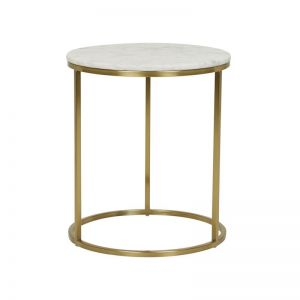 Elle Round Side Table | Marble | Matte White / Brushed Gold