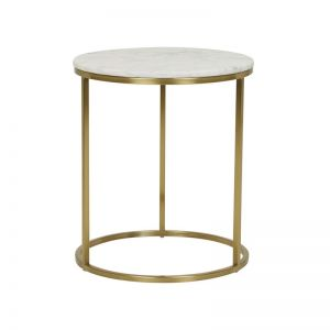 Elle Round Side Table | Marble | Matte White / Brushed Gold | Pre Order