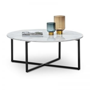 Ellie Marble Round Coffee Table | White & Black