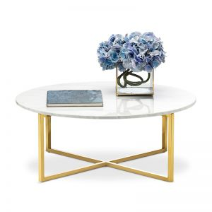 Ellie Marble Round Coffee Table | White & Polished Gold