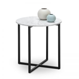 Ellie Marble Round Side Table | White & Black