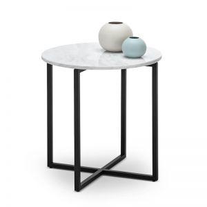 Ellie Marble Round Side Table | White & Black