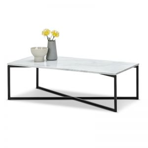 Ellie White Marble Rectangular Coffee Table | White & Black