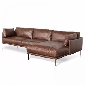 Emilis 4 Seater Right Chaise Leather Sofa | Dark Brown