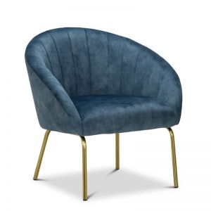 Emily Channel Tufted Velvet Armchair | Petrol Blue & Gold