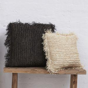 Emin Seagrass Cushion with Fringe l Tan