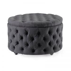 Emma Storage Ottoman Large | Charcoal | by Black Mango