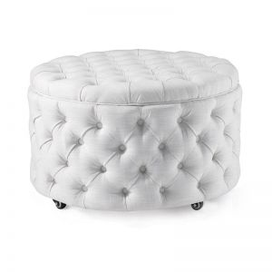 Emma Storage Ottoman Large | Linen White | by Black Mango