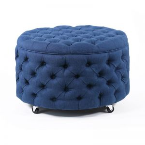 Emma Storage Ottoman Large | Navy | by Black Mango