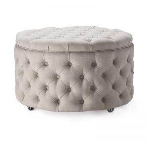 Emma Storage Ottoman Large | Taupe | by Black Mango