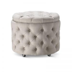 Emma Storage Ottoman Small | Taupe | by Black Mango
