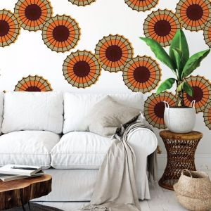 Emokpaire - African Dreams | Eco Wallpaper | Orange | Amba Florette