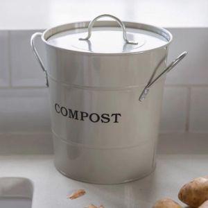 Enamel Compost Bucket Ivory
