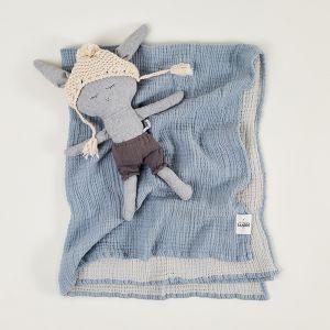 Enes Crinkle Baby Blanket   Storm Blue/Pale Grey