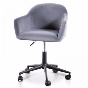 Enoch Charcoal Velvet Office Chair | Black Base