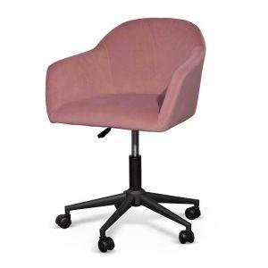 Enoch Velvet Office Chair | Blush and Black