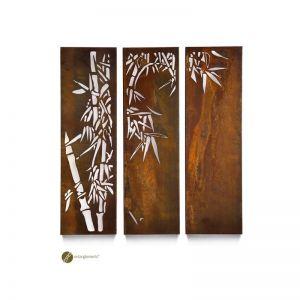 Entanglements | Bamboo Triptych Garden Wall Art