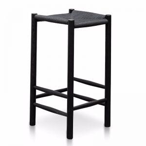 Erika Rattan Bar Stool | Black | 65cm