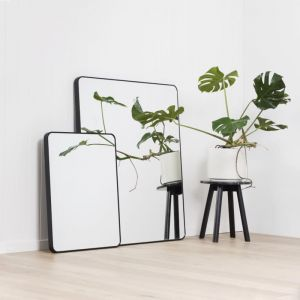 Errol Curved Corner Tall Leaning Mirror | Black, Grey or White