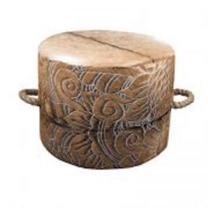 Escaño Ottoman | Etch | Brown and White