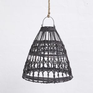Esher Handwoven Flat Rattan Black Light Shade l Pre Order