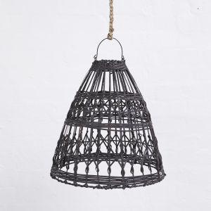 Esher Handwoven Flat Rattan Black Lighting