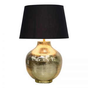 Etched Round Table Lamp & Shade | Brass